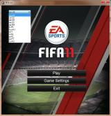 FIFA Soccer 11 Windows After installation the game autoloads to this screen. Language selection is a small window in the top left, shown here expanded with all available languages visible