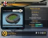 LMA Manager 2004 PlayStation 2 Starting an exhibition match<br>Match day information scrolls across the screen below the stadium<br>R1/2 and L1/2 access the icons in the lower right for team selection, tactics etc