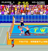 Mat Mania Arcade Getting punched in the face, in the US version T.W.A. stands for Taito Wrestling Association