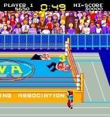 Mat Mania Arcade Pinning the opponent for the three-count, notice several recognizable characters in the audience: Darth Vader, Superman, Popeye and others