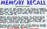 Memory Recall Atari ST Instructions