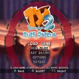 TY the Tasmanian Tiger 2: Bush Rescue PlayStation 2 The main menu screen<br>EXTRAS shows the game credits, movie & music players and concept art