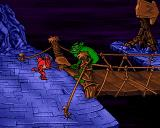 Litil Divil Amiga CD32 If you want to make it into the second dungeon, you need to beat the green fella...