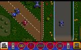 Power Up plus Atari ST Player 1 battles some AI cars, Player 2 is now far ahead of the bulk