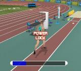 Athens 2004 PlayStation 2 Practicing the long jump<br>The player button mashes to build up speed then presses L1 when the athlete reaches the white spot on the track to make the jump