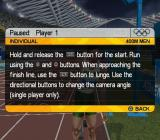 Athens 2004 PlayStation 2 Competing in the games at men's 400m<br>In competition mode the player does see any advice screens but it is still available via the pause menu