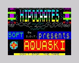 Aquaplane ZX Spectrum Loading Screen (Spanish version <i>Software Magazine</i>, issue <i>Nº 5A</i>, Side A.)