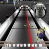 Strike Force Bowling PlayStation 2 Bowling is a three stage affair. This is the second stage, the D-Pad left/right arrows aim the ball. If a high degree of spin is selected the ball's path will curve in the final section