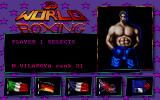 3D World Boxing  DOS Menu, choose your language and boxer