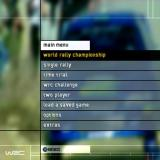 WRC World Rally Championship PlayStation 2 The game's main menu<br>Extras contains View Replay, High Scores, Movies, Bonus Stages (these need to be unlocked), Secrets (where codes are entered) and Credits