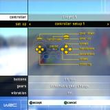 WRC World Rally Championship PlayStation 2 The Options tab on the main menu allows the player to configure the sound, graphics, and to view the controller setup