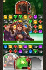 Puzzle & Glory Android Lorelei uses her Restore skill to heal a party member.