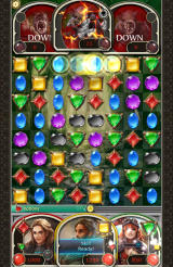 Puzzle & Glory Android A match of four blue gems has been created.