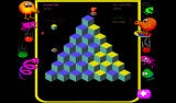 Q*bert: Rebooted Android Riding a transporter (Classic mode).