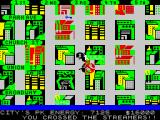 Ghostbusters ZX Spectrum Do you see that damaged building over therr? Yes right there at your lower left... Pretty nasty isn't it? I told ya, I wuzn'te kiddin'. The sailor ain't for picnics. (48K)
