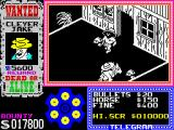 Gunfright ZX Spectrum Tumbleweeds arrive as new obstacles plus, the villainy which now is using two hats, is riding a horse.