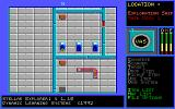 Stellar Explorer: The Drosi Encounter DOS The game starts with a 'Loading.....' screen followed by the main game screen. The player is the brown dot on the left hand bed, roughly in the centre of the screen