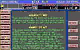 Taxi Run DOS The game objectives are shown by clicking on the HELP button. There is documentation too