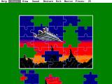 Jigsaw Puzzle DOS After mapping the pieces the game dumps them in a heap at the bottom of the screen.
