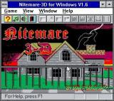 Nitemare-3D Windows 3.x The title screen<br>The game starts in this really small window and the quality of the graphics change markedly when full screen mode is engaged