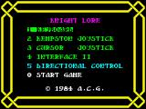 Knight Lore ZX Spectrum Choosing Controls.