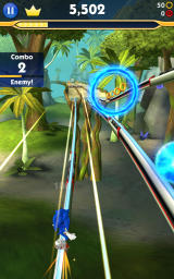 Sonic Dash 2: Sonic Boom Android Grinding on a rail.