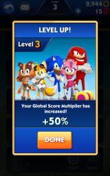 Sonic Dash 2: Sonic Boom Android Level up