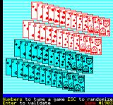 3k FreeCell Oric The selection screen. The player can either enter a numeric code to play a particular distribution, or just press Enter to start a random game.