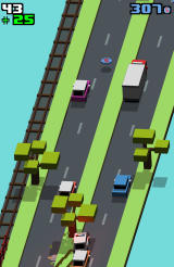 Smashy Road Android The police car in pursuit crashes and 25 coins are provided as a reward.