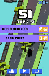 Smashy Road Android Spend coins to earn a new car or watch an advertisement to earn more coins.