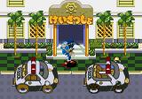 Waku Waku Sonic Patrol Car Arcade Sonic in front of the police station.