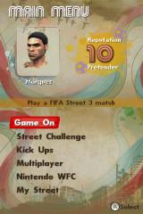 FIFA Street 3 Nintendo DS Main menu.