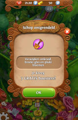 Blossom Blast Saga Android The shovel has been unlocked as a booster (Dutch version).