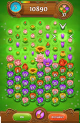 Blossom Blast Saga Android Using the shovel to remove a bud (Dutch version).