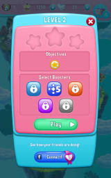 Care Bears: Belly Match Android Start of the second level. You can choose to use a booster to receive five additional moves.