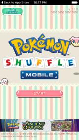 Pokémon Shuffle iPhone Title screen.