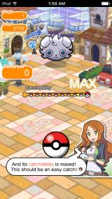 Pokémon Shuffle iPhone Getting ready to catch Espurr.