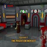LEGO Star Wars: The Video Game PlayStation 2 The game starts in Dexter's Diner. There's a separate door for each chapter<br>Door 1 is 'The Phantom Menace' and behind that are other doors, one for each mission.