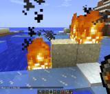 Minecraft Windows Burning the sand down. The particle effects look great.