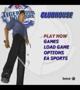 Tiger Woods PGA Tour 2001 PlayStation 2 The main menu. While menus are displayed Tiger Woods bounces a ball on the end of his club and does a variety of tricks