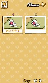 Neko Atsume: Kitty Collector Android Snowball's individual photo album.