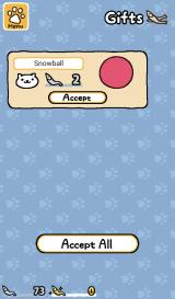 Neko Atsume: Kitty Collector Android Snowball left me a present before going home.