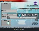 World Soccer: Winning Eleven 8 International Windows Managing a team in the Master League.<br>The first screen the player sees is a help screen with tabs leading to screens that explain saving a game etc. This is the main management screen