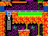 Rick Dangerous 2 ZX Spectrum Level 4 - The Atomic Mud Mines: a trail of mine carts transports something. You can't let yourself be knocked down by them, but you can use them as transportation.