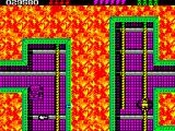 Rick Dangerous 2 ZX Spectrum Level 4 - The Atomic Mud Mines: not easy to manoeuvre this bike. Lateral toxic projectiles are being thrown, a robotic machinery uses the cables as locomotion.
