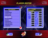 World League Soccer '98 PlayStation The Player Editor screen where a player name is being changed