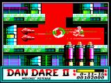 Dan Dare II: Mekon's Revenge ZX Spectrum Level 3 (as <i>Dan</i>): Laser rain.<br>