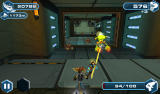 Ratchet & Clank: Before the Nexus Android Shooting an enemy. The remaining ammo is shown in the bottom right corner.