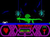 Thanatos ZX Spectrum ...And these nasty spiders can also knock out our sorcerer making her vulnerable in the ground, a nice prey for walking spiders...