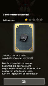 Knack's Quest Android Information about an item that consists of multiple parts that need to be found (Dutch version).